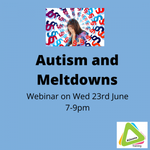 autism and meltdowns course 23rd June 7-9pm GMT